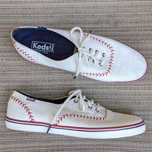 Keds Baseball Stitch White Sneakers 8.5